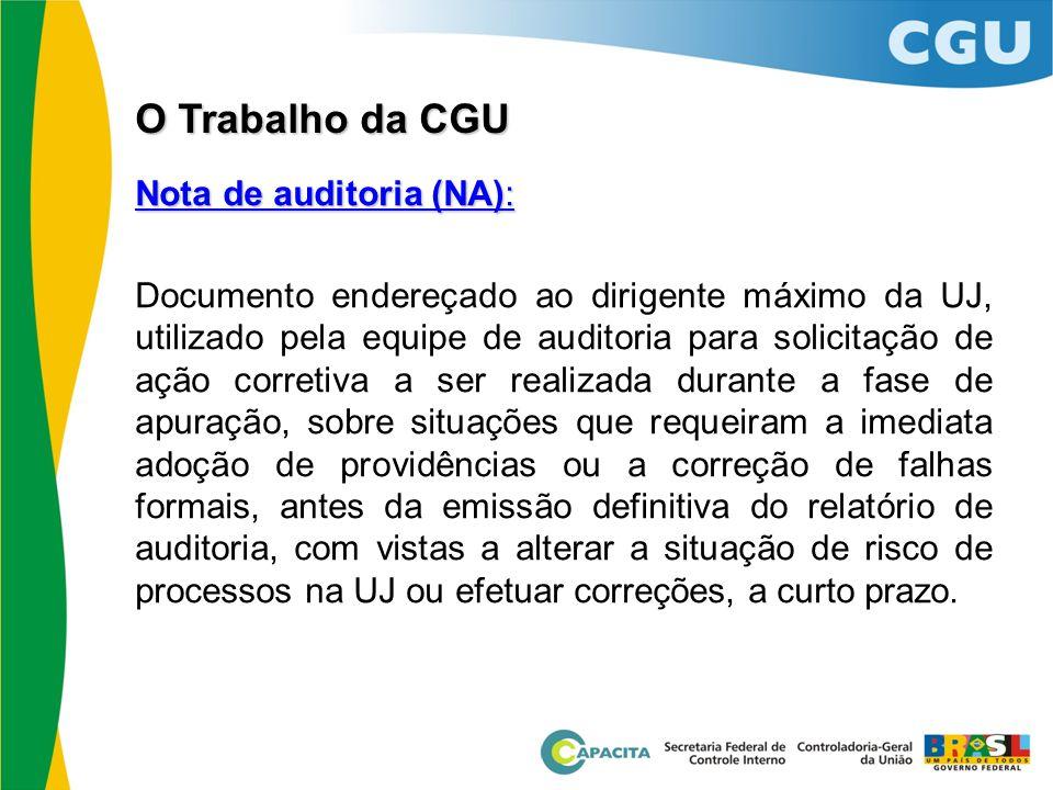 O Trabalho da CGU Nota de auditoria (NA):