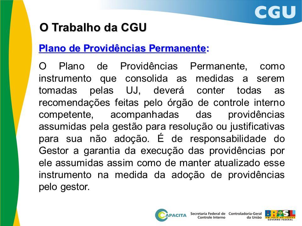 O Trabalho da CGU Plano de Providências Permanente: