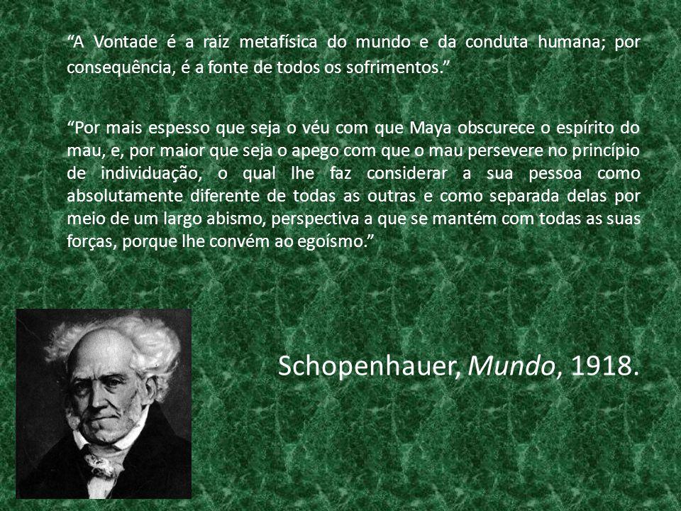 A Vontade é a raiz metafísica do mundo e da conduta humana; por consequência, é a fonte de todos os sofrimentos.