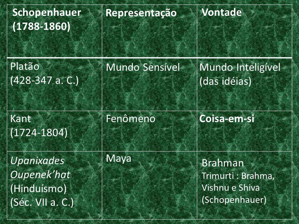 Schopenhauer (1788-1860) Representação Vontade Platão (428-347 a. C.)