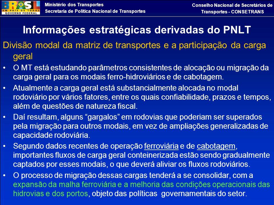 Informações estratégicas derivadas do PNLT
