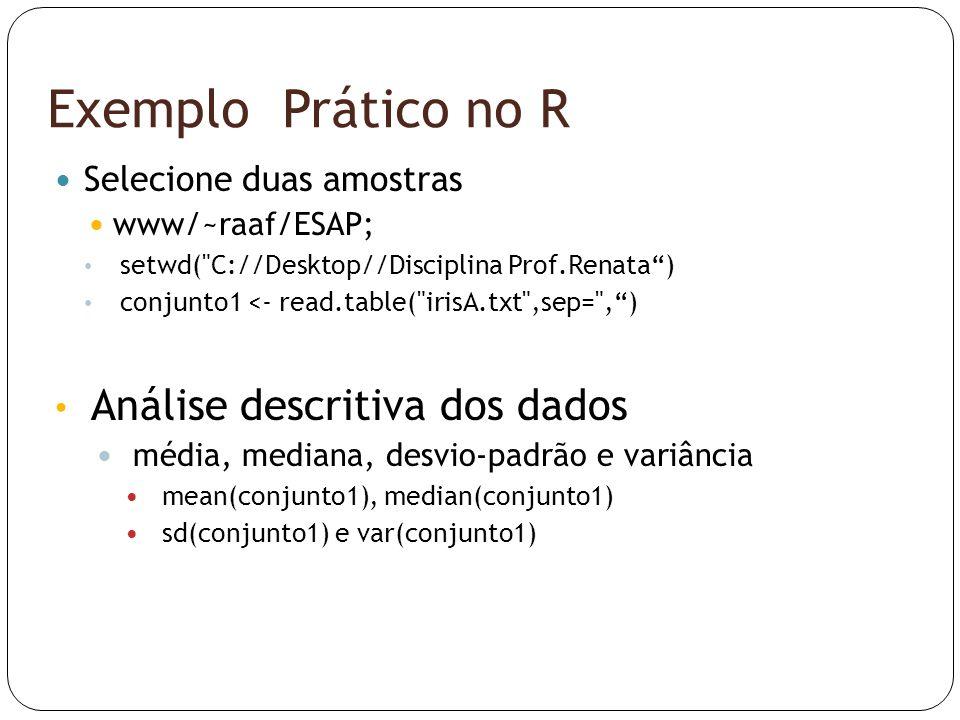 Exemplo Prático no R Análise descritiva dos dados