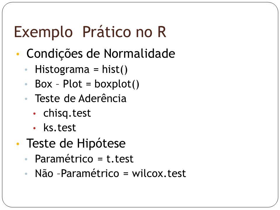 Exemplo Prático no R Condições de Normalidade Teste de Hipótese