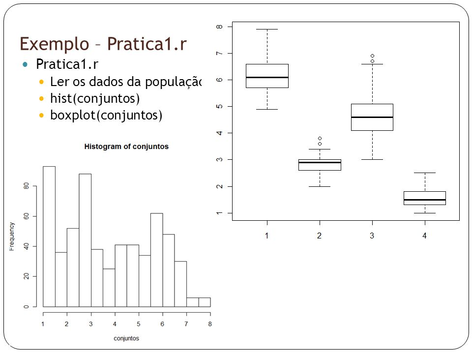 Exemplo – Pratica1.r Pratica1.r Ler os dados da população