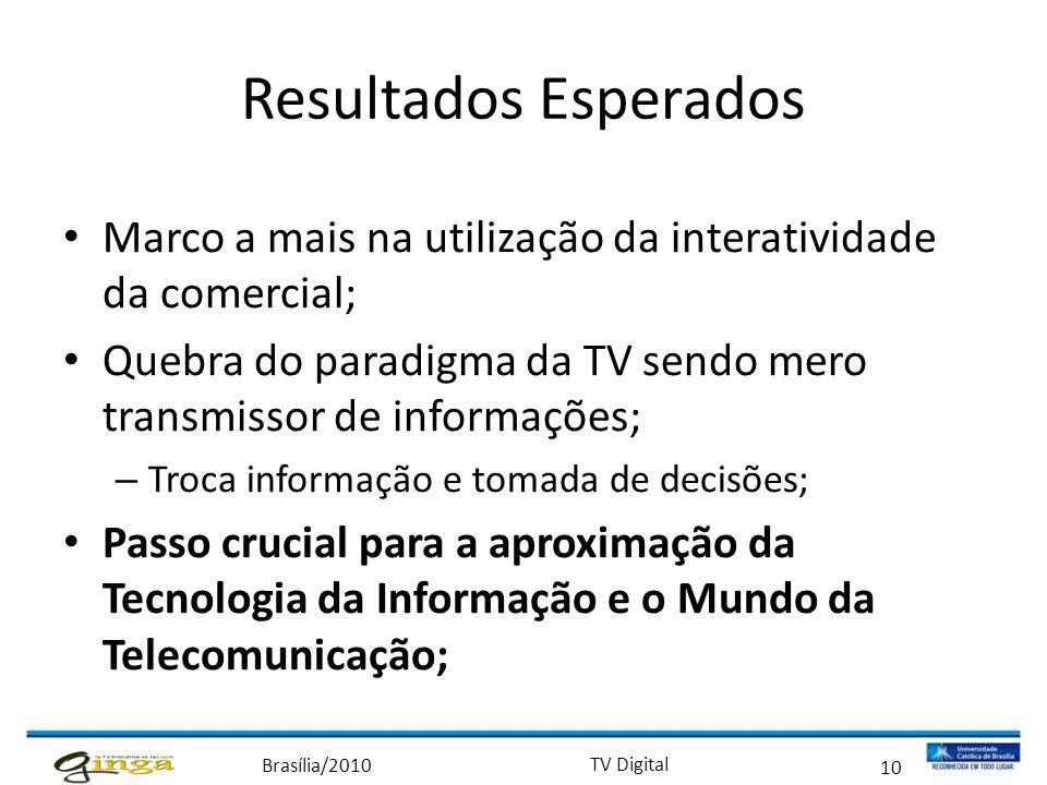 Resultados Esperados Marco a mais na utilização da interatividade da comercial; Quebra do paradigma da TV sendo mero transmissor de informações;