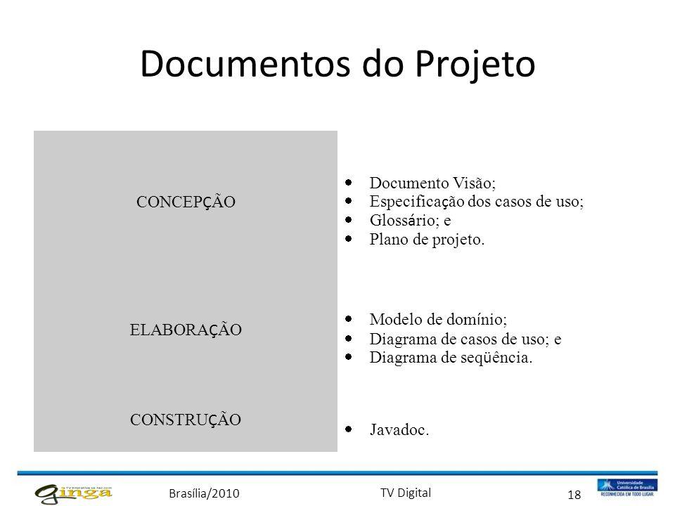 Documentos do Projeto CONCEPÇÃO Documento Visão;