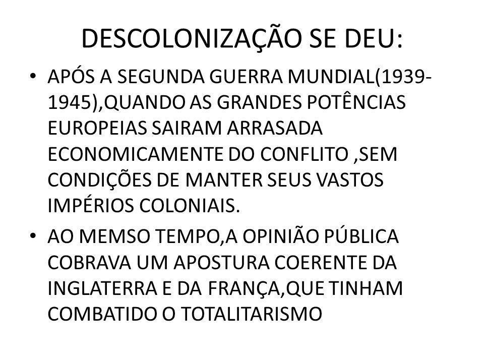 DESCOLONIZAÇÃO SE DEU: