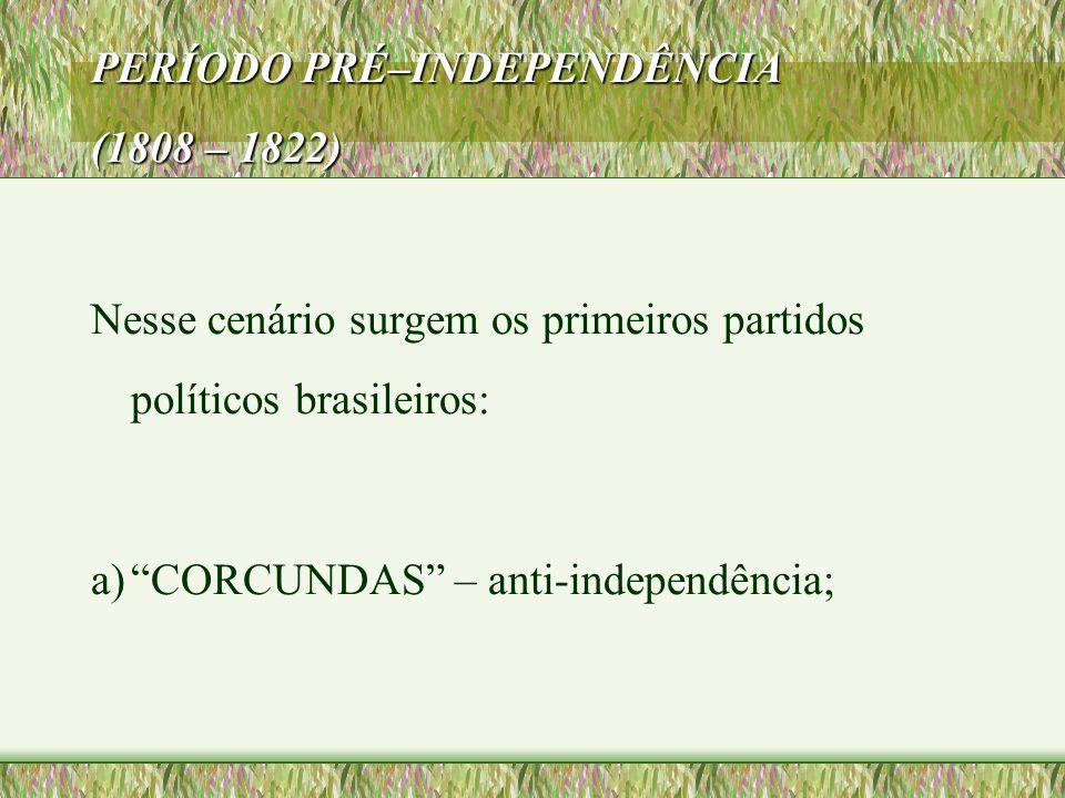 PERÍODO PRÉ–INDEPENDÊNCIA (1808 – 1822)
