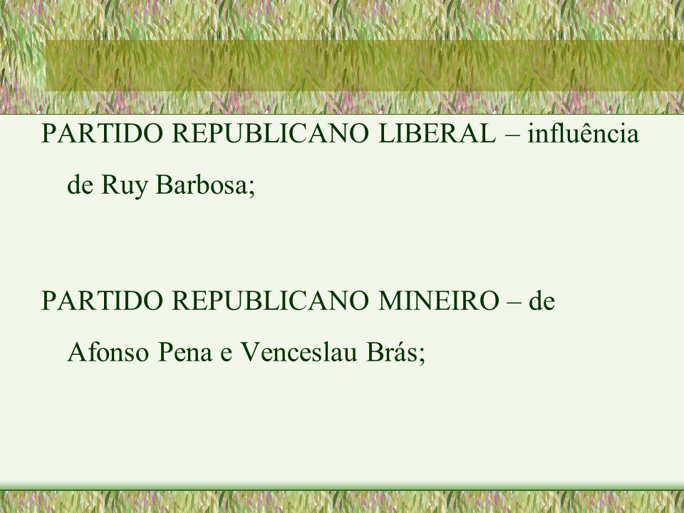 PARTIDO REPUBLICANO LIBERAL – influência de Ruy Barbosa;