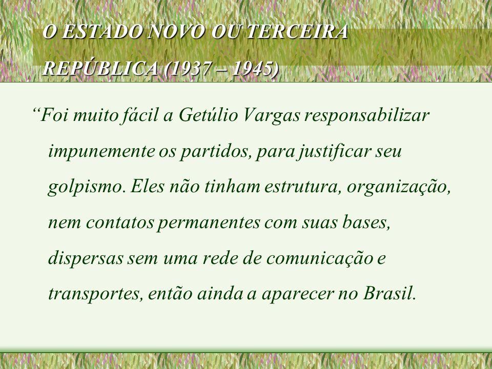 O ESTADO NOVO OU TERCEIRA REPÚBLICA (1937 – 1945)