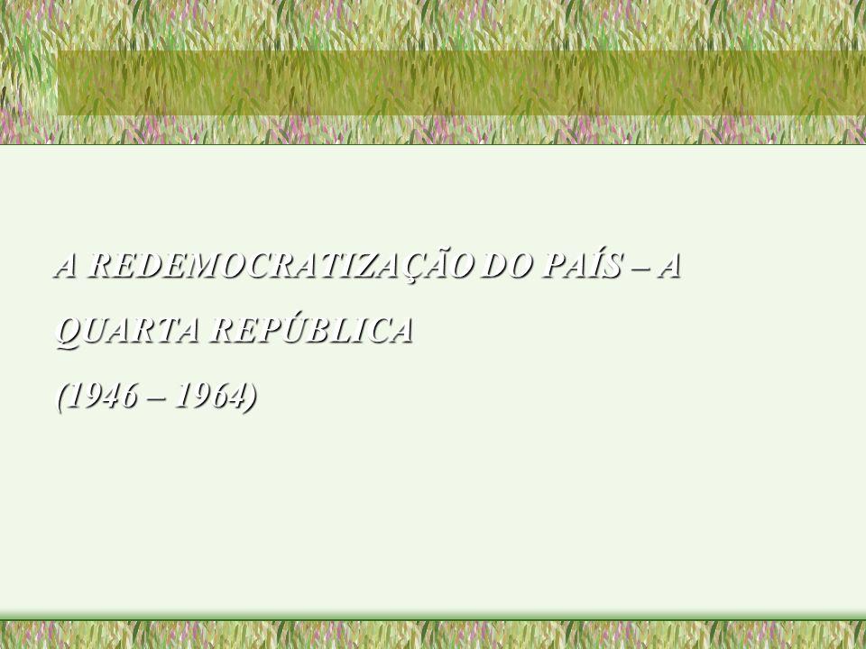A REDEMOCRATIZAÇÃO DO PAÍS – A QUARTA REPÚBLICA (1946 – 1964)
