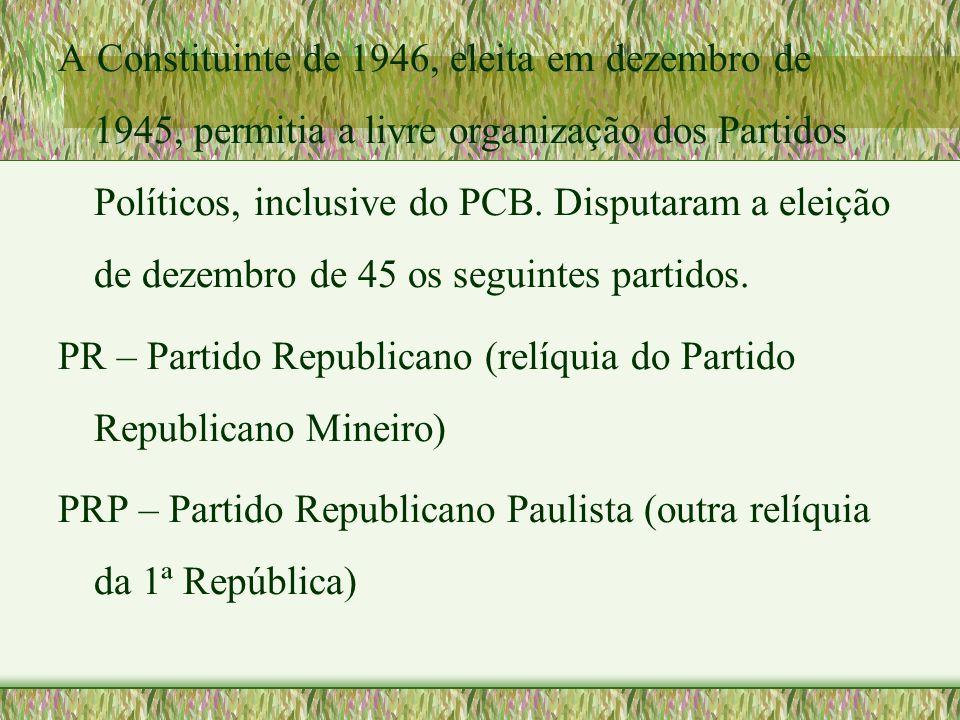 A Constituinte de 1946, eleita em dezembro de 1945, permitia a livre organização dos Partidos Políticos, inclusive do PCB. Disputaram a eleição de dezembro de 45 os seguintes partidos.
