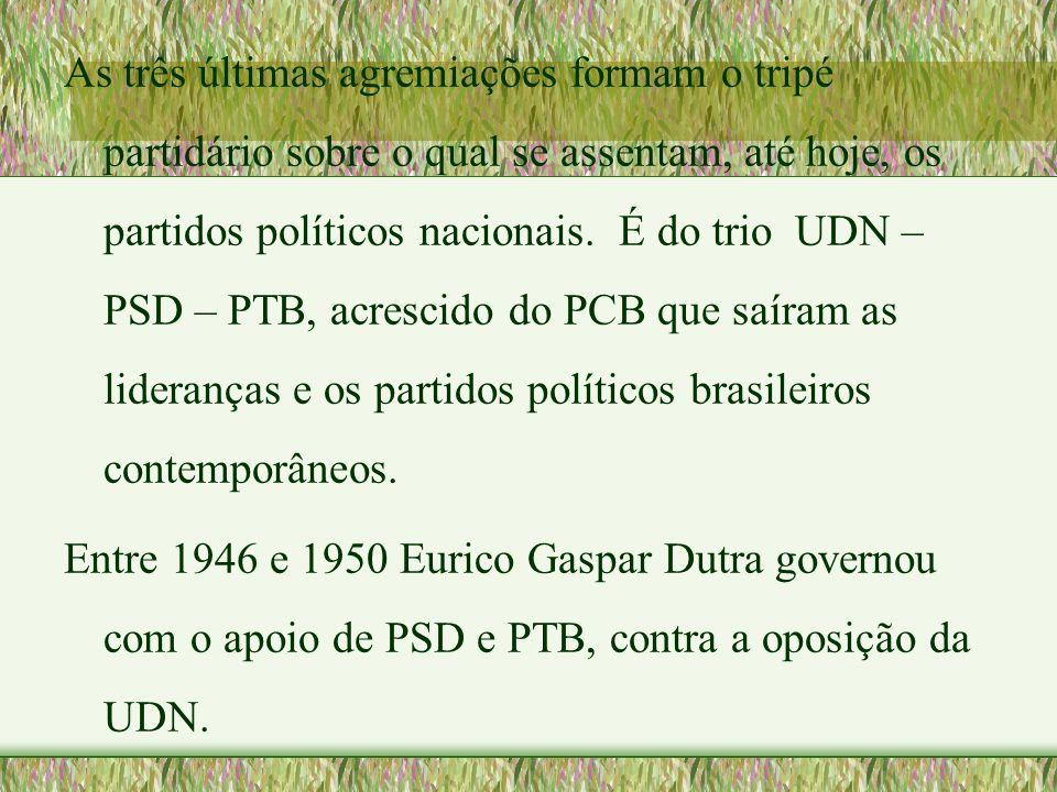 As três últimas agremiações formam o tripé partidário sobre o qual se assentam, até hoje, os partidos políticos nacionais. É do trio UDN – PSD – PTB, acrescido do PCB que saíram as lideranças e os partidos políticos brasileiros contemporâneos.
