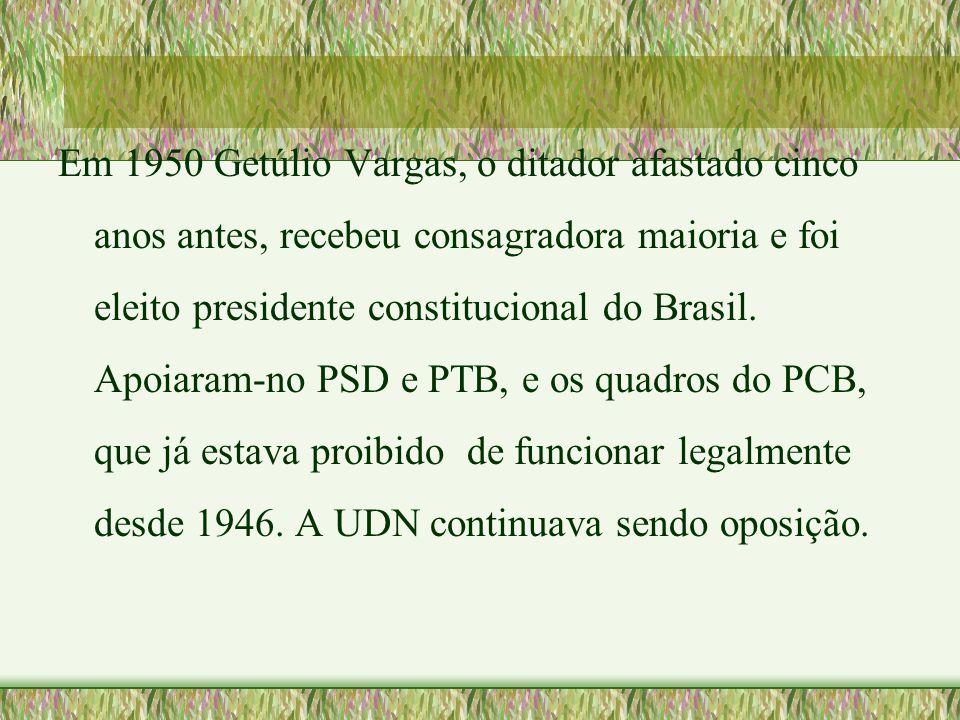 Em 1950 Getúlio Vargas, o ditador afastado cinco anos antes, recebeu consagradora maioria e foi eleito presidente constitucional do Brasil.