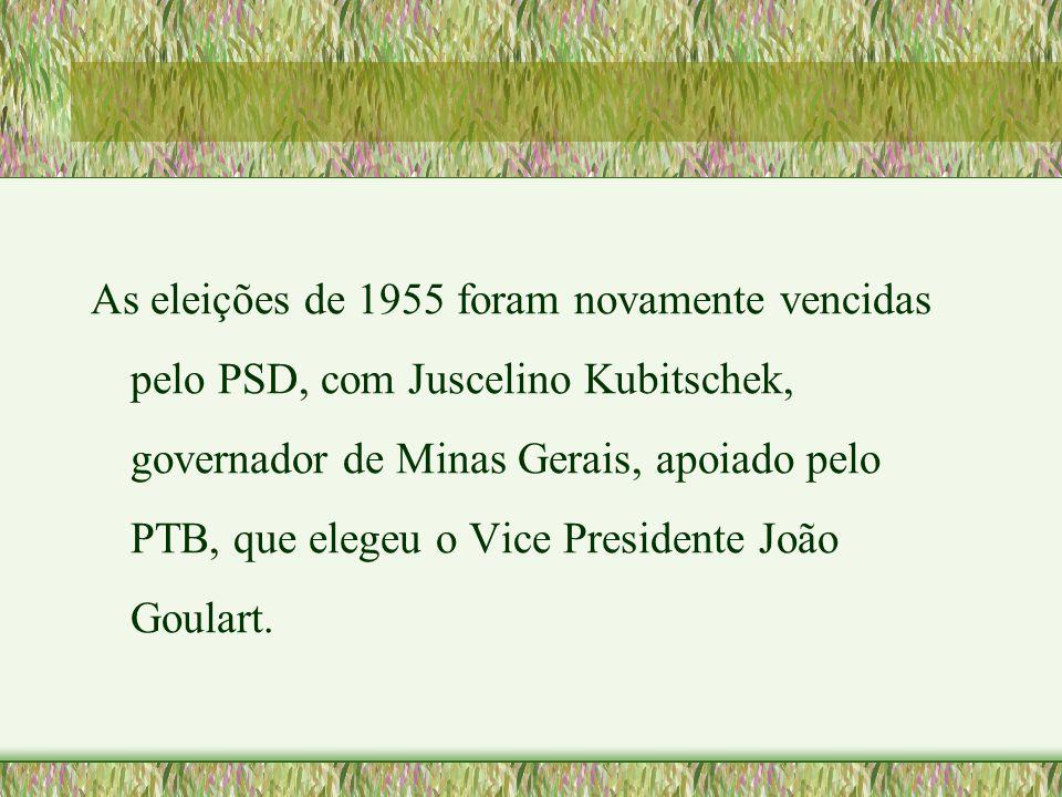As eleições de 1955 foram novamente vencidas pelo PSD, com Juscelino Kubitschek, governador de Minas Gerais, apoiado pelo PTB, que elegeu o Vice Presidente João Goulart.
