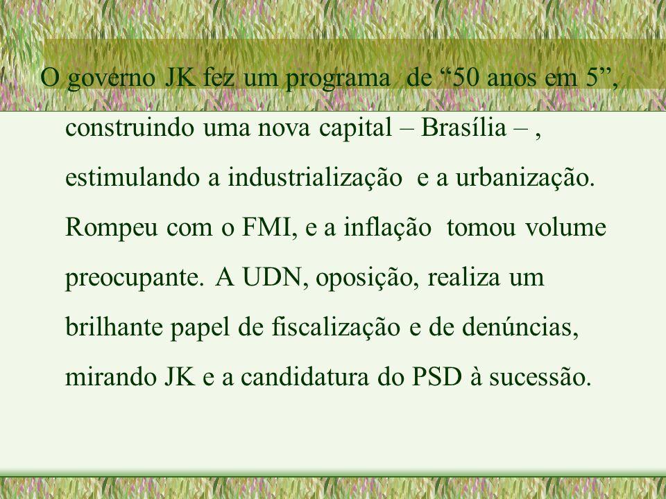 O governo JK fez um programa de 50 anos em 5 , construindo uma nova capital – Brasília – , estimulando a industrialização e a urbanização.