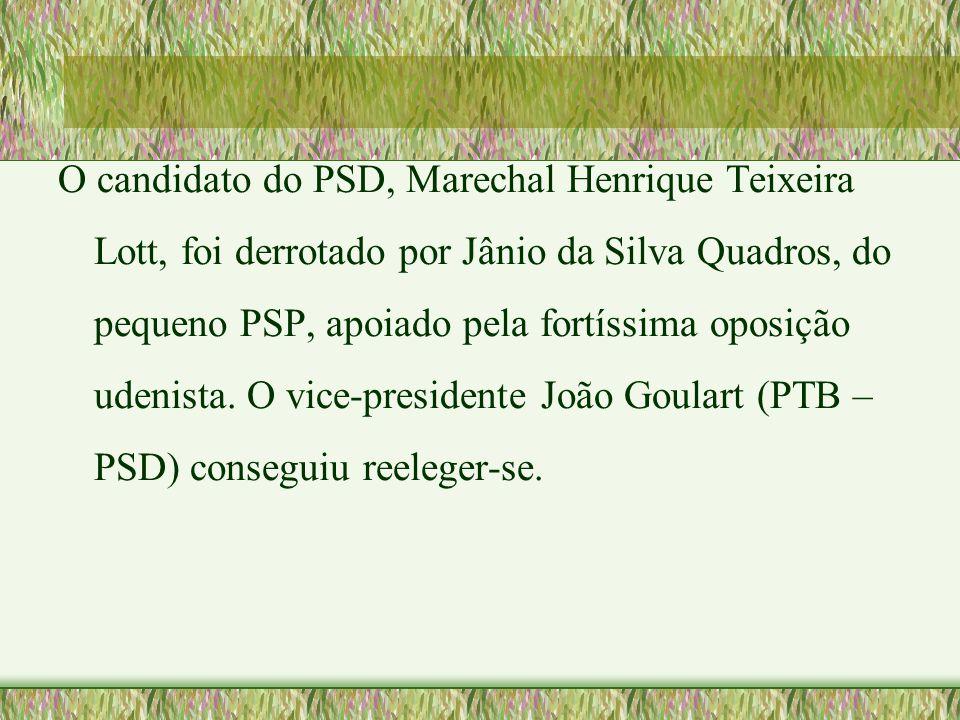 O candidato do PSD, Marechal Henrique Teixeira Lott, foi derrotado por Jânio da Silva Quadros, do pequeno PSP, apoiado pela fortíssima oposição udenista.