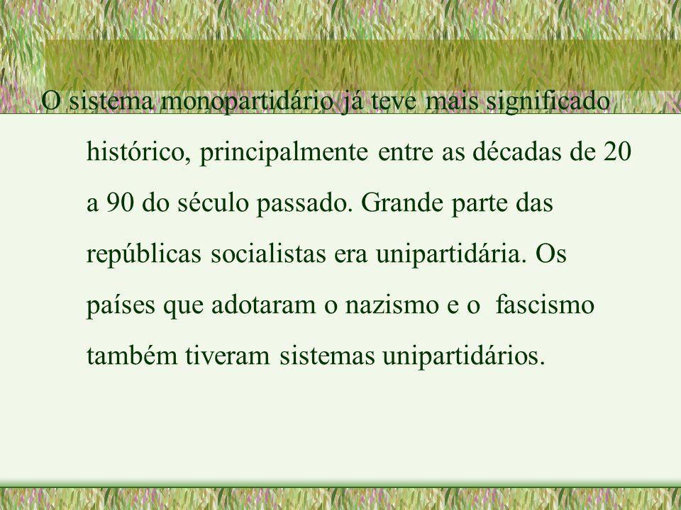O sistema monopartidário já teve mais significado histórico, principalmente entre as décadas de 20 a 90 do século passado.
