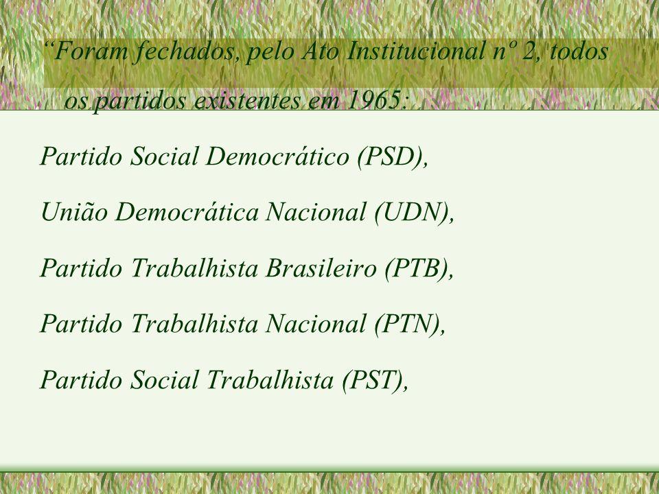 Foram fechados, pelo Ato Institucional nº 2, todos os partidos existentes em 1965: