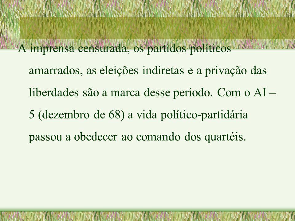 A imprensa censurada, os partidos políticos amarrados, as eleições indiretas e a privação das liberdades são a marca desse período.