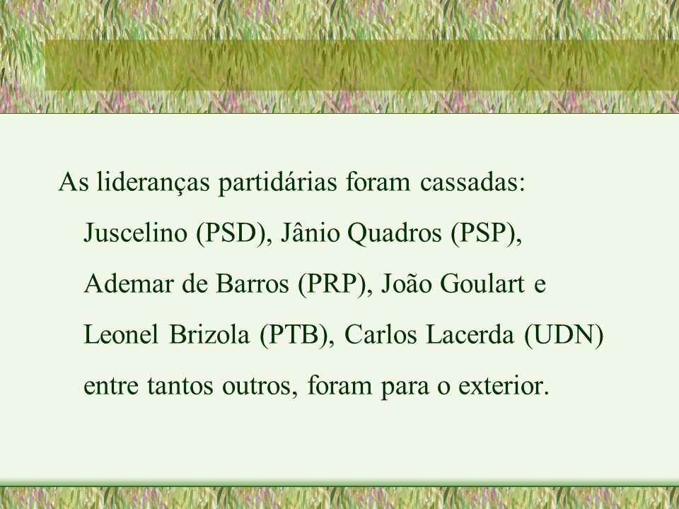 As lideranças partidárias foram cassadas: Juscelino (PSD), Jânio Quadros (PSP), Ademar de Barros (PRP), João Goulart e Leonel Brizola (PTB), Carlos Lacerda (UDN) entre tantos outros, foram para o exterior.