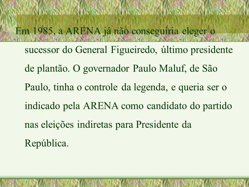 Em 1985, a ARENA já não conseguiria eleger o sucessor do General Figueiredo, último presidente de plantão.