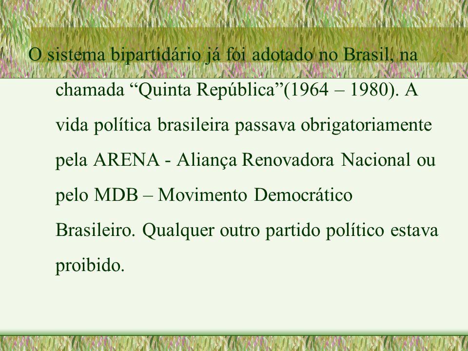 O sistema bipartidário já foi adotado no Brasil, na chamada Quinta República (1964 – 1980).