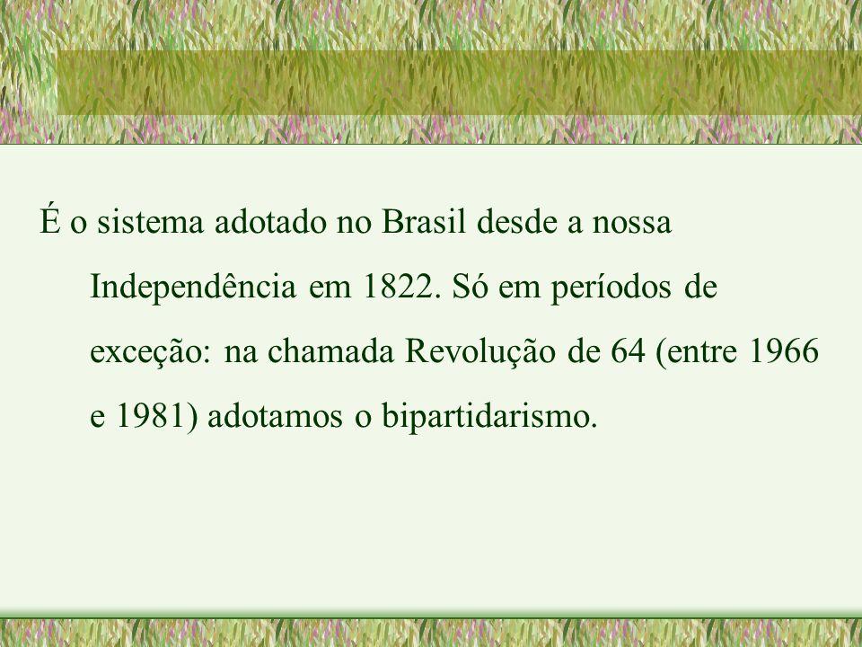 É o sistema adotado no Brasil desde a nossa Independência em 1822