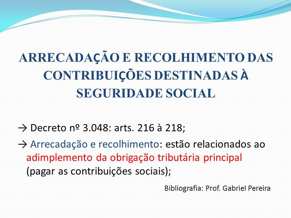 ARRECADAÇÃO E RECOLHIMENTO DAS CONTRIBUIÇÕES DESTINADAS À SEGURIDADE SOCIAL
