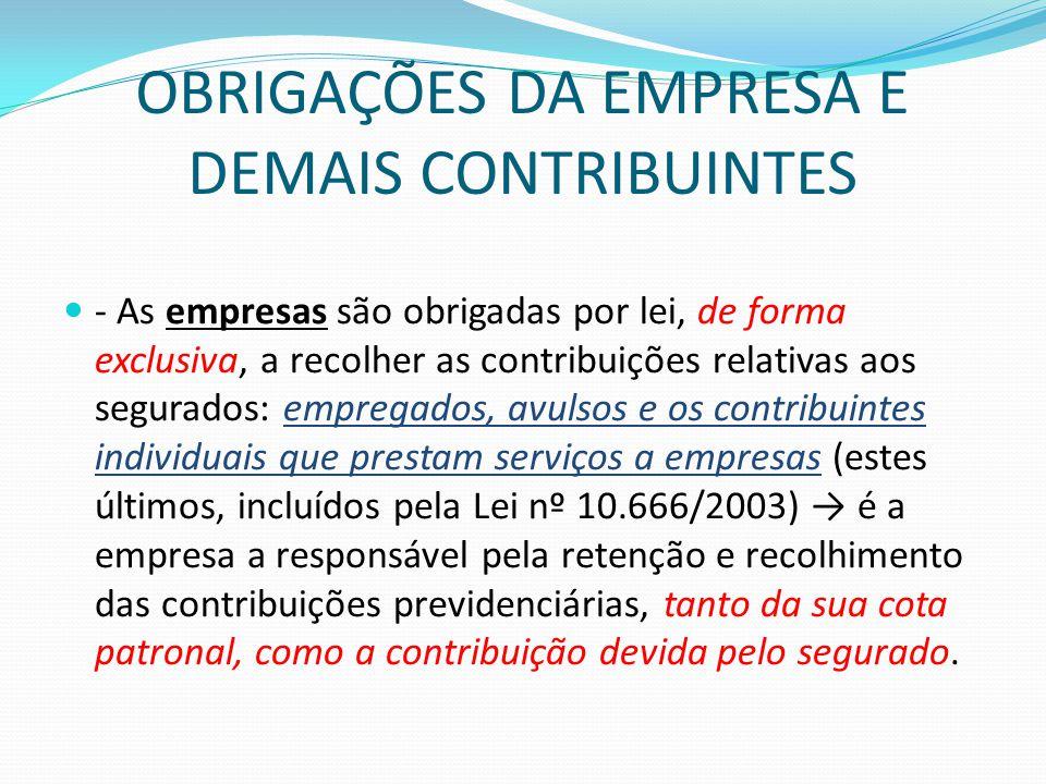 OBRIGAÇÕES DA EMPRESA E DEMAIS CONTRIBUINTES