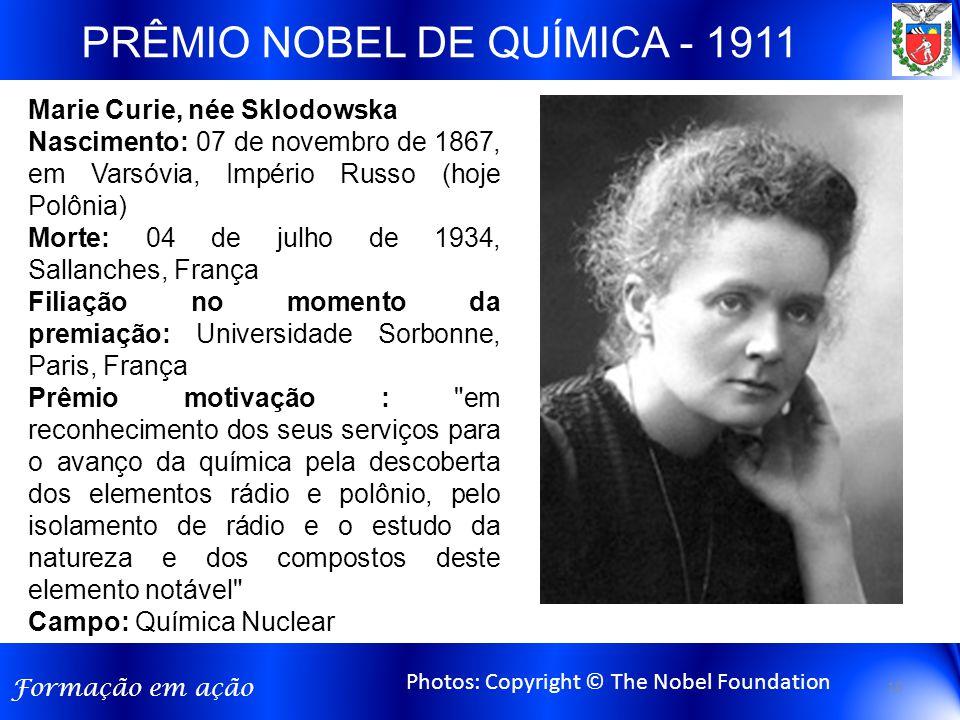 PRÊMIO NOBEL DE QUÍMICA - 1911