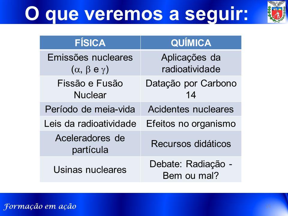 O que veremos a seguir: FÍSICA QUÍMICA Emissões nucleares (,  e )