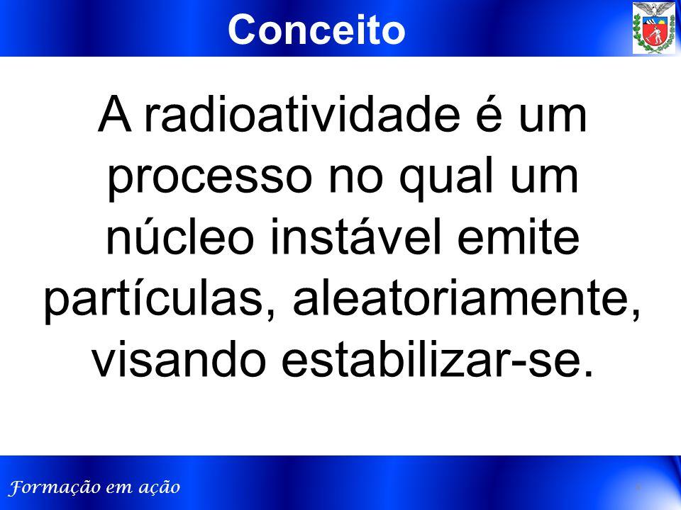 Conceito A radioatividade é um processo no qual um núcleo instável emite partículas, aleatoriamente, visando estabilizar-se.