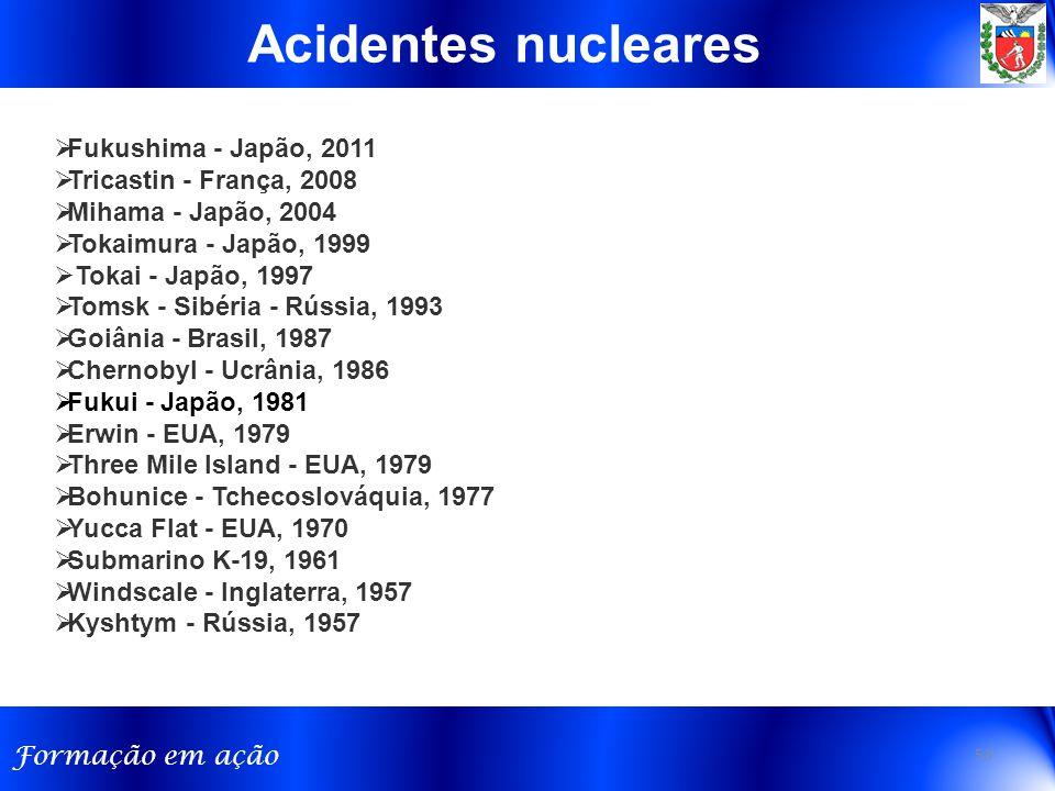 Acidentes nucleares Fukushima - Japão, 2011 Tricastin - França, 2008