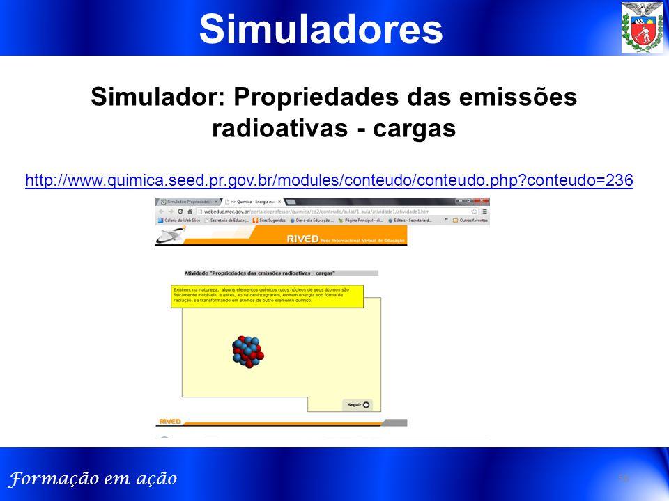 Simulador: Propriedades das emissões radioativas - cargas