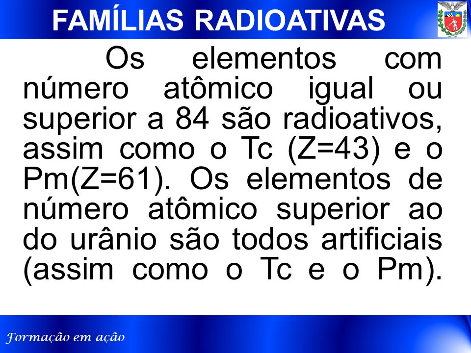 FAMÍLIAS RADIOATIVAS