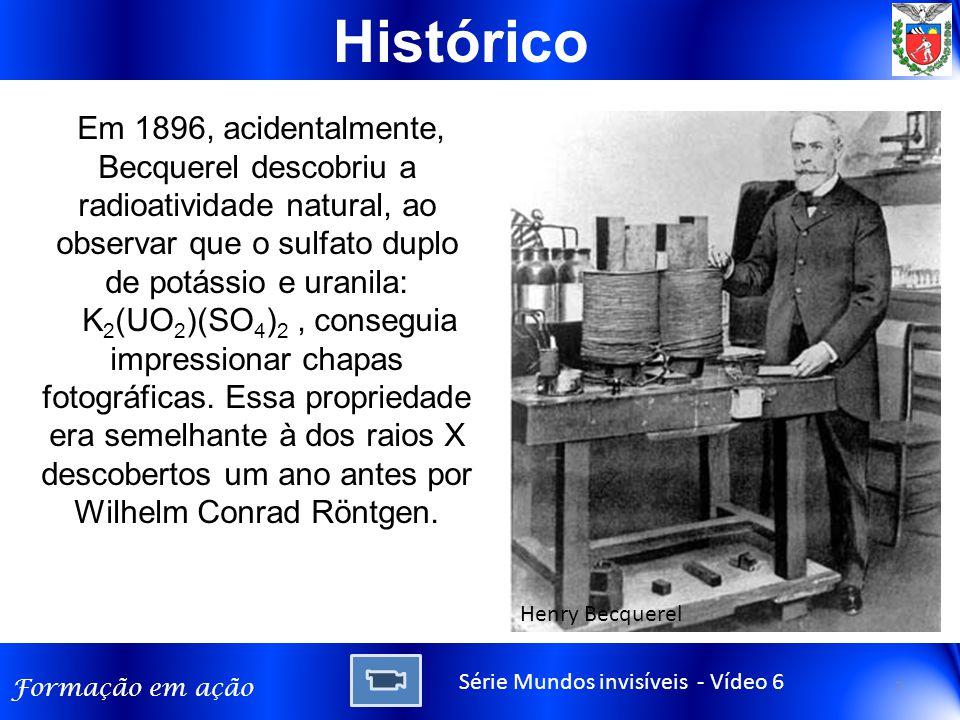 Histórico Em 1896, acidentalmente, Becquerel descobriu a radioatividade natural, ao observar que o sulfato duplo de potássio e uranila: