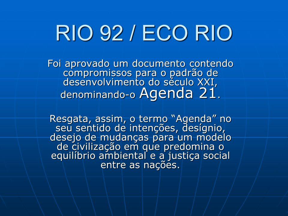 RIO 92 / ECO RIO Foi aprovado um documento contendo compromissos para o padrão de desenvolvimento do século XXI, denominando-o Agenda 21.
