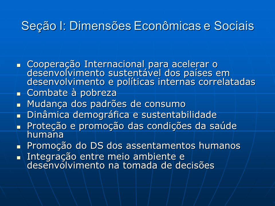 Seção I: Dimensões Econômicas e Sociais