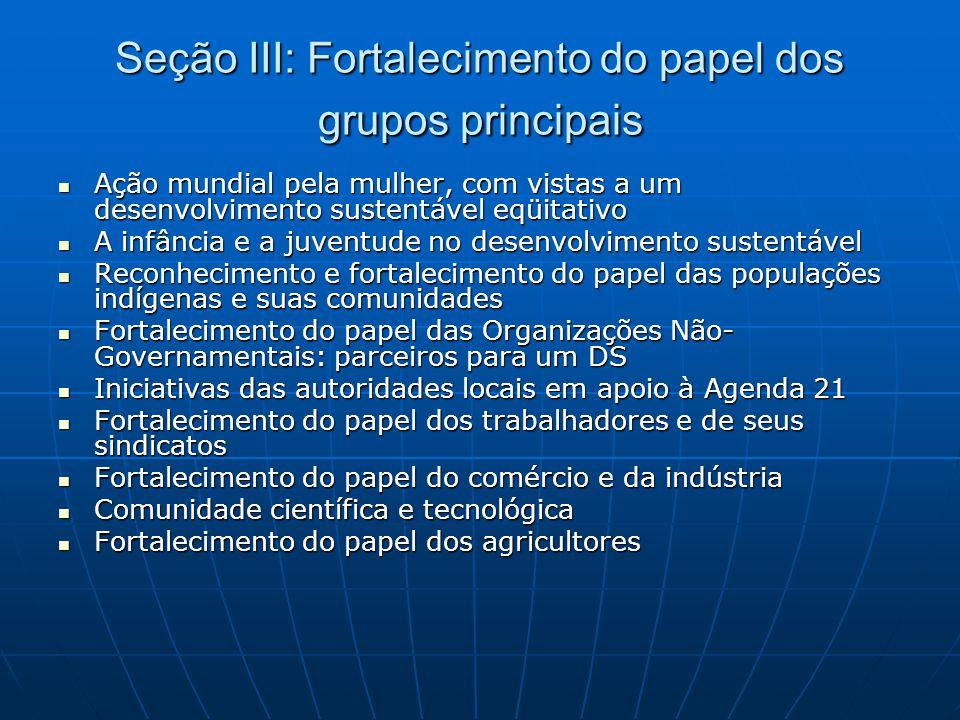 Seção III: Fortalecimento do papel dos grupos principais