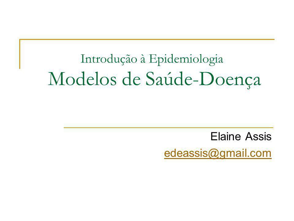 Introdução à Epidemiologia Modelos de Saúde-Doença