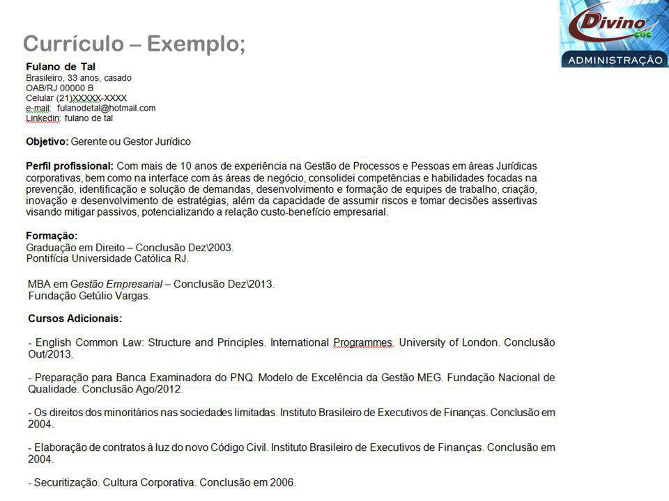 Currículo – Exemplo;