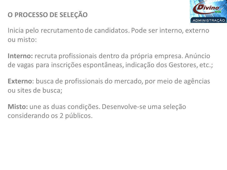 O PROCESSO DE SELEÇÃO Inicia pelo recrutamento de candidatos. Pode ser interno, externo ou misto: