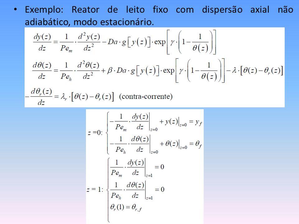 Exemplo: Reator de leito fixo com dispersão axial não adiabático, modo estacionário.