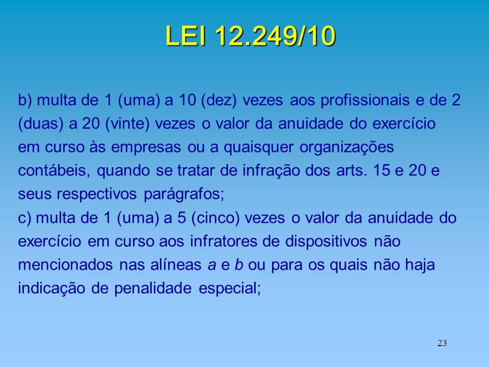 LEI 12.249/10 b) multa de 1 (uma) a 10 (dez) vezes aos profissionais e de 2. (duas) a 20 (vinte) vezes o valor da anuidade do exercício.