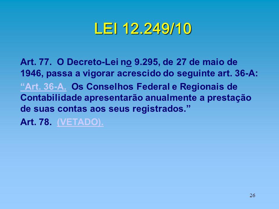 LEI 12.249/10 Art. 77. O Decreto-Lei no 9.295, de 27 de maio de 1946, passa a vigorar acrescido do seguinte art. 36-A: