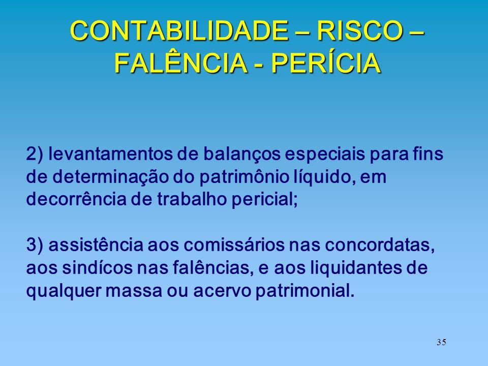 CONTABILIDADE – RISCO – FALÊNCIA - PERÍCIA