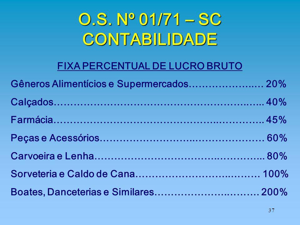 O.S. Nº 01/71 – SC CONTABILIDADE FIXA PERCENTUAL DE LUCRO BRUTO