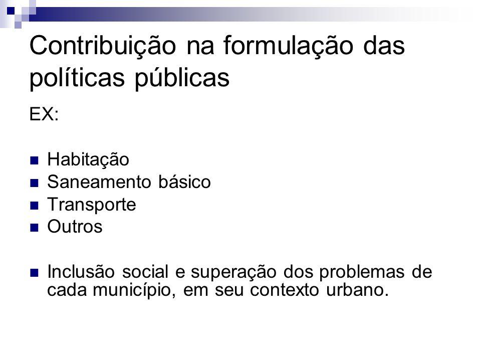 Contribuição na formulação das políticas públicas