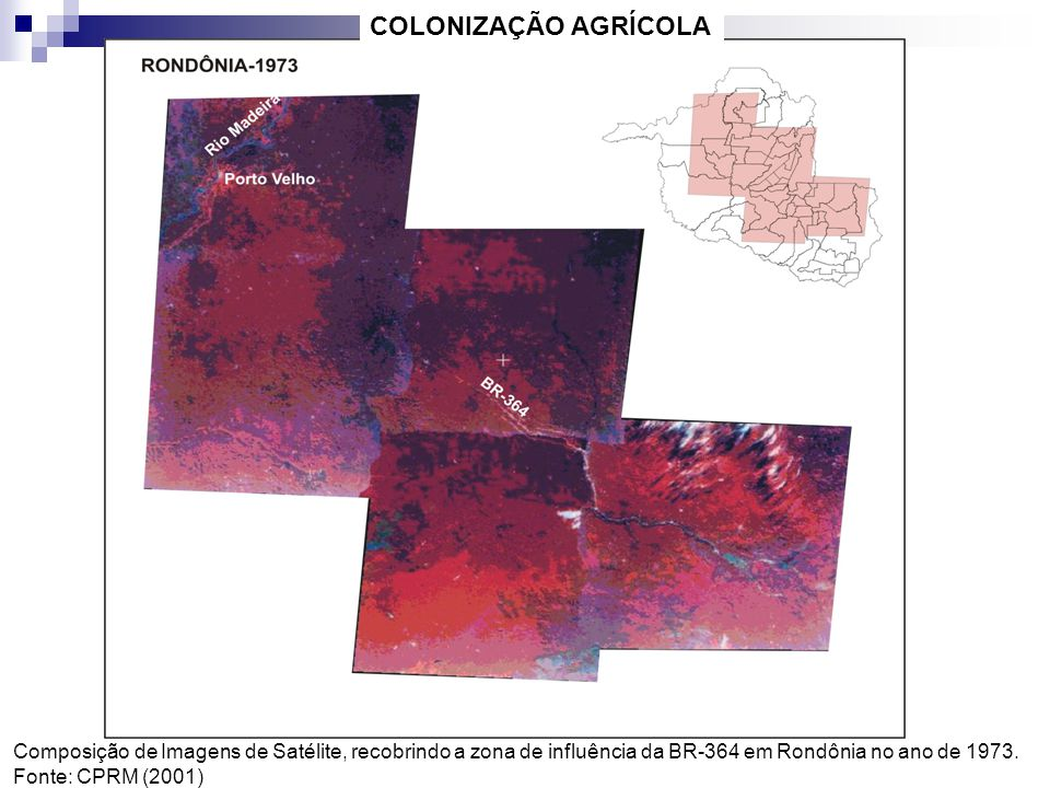 COLONIZAÇÃO AGRÍCOLA Composição de Imagens de Satélite, recobrindo a zona de influência da BR-364 em Rondônia no ano de 1973.